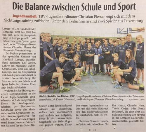 Eis jonk Handballspiller am Ausland ënnerwee