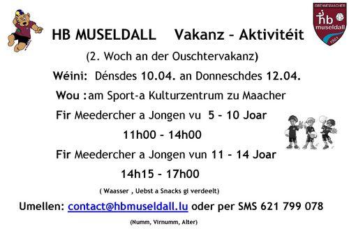 HB MUSELDALL Vakanz – Aktivitéit