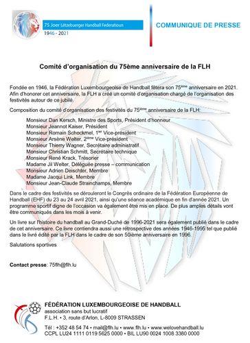 Comité d'organisation du 75ème anniversaire de la FLH
