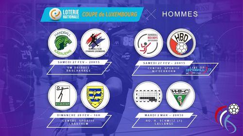 Dëse Weekend stinn d'1 /4 Finalle vun der Loterie Nationale Coupe de Luxembourg vun den Hären um Programm