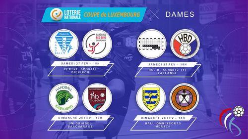 Dëse Weekend stinn d'1 / 4 Finalle vun der Loterie Nationale Coupe de Luxembourg vun den Damen um Programm